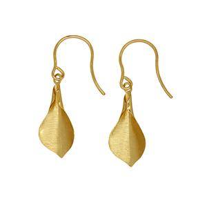 <p>9ct Yellow Gold Textured leaf Earrings on Shepher Hook</p>