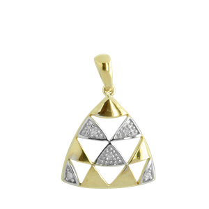 <p>9ct yellow gold Diamond Triangle Pendant with rhodium plated settings</p>