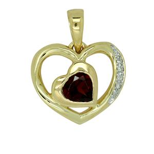 <p>9ct Yellow Gold Heart Garnet & Diamond Pendant</p>