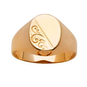 <p>Engraved Oval Signet Ring</p>