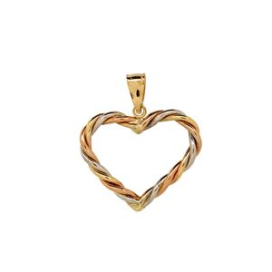 9 Carat Tri-gold Twisted 'Heart' Pendant