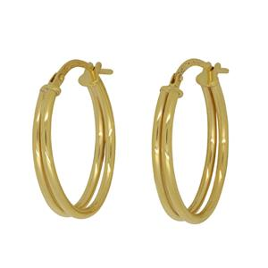<p>9 Carat Yellow Gold Double Tubed, Sterling Silver Silled Earrings</p>