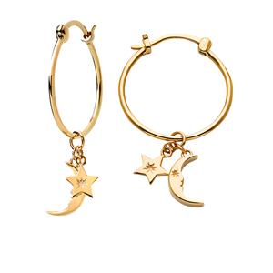 <p>Moon and Star Charm Hoops</p>