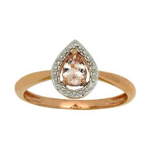 <p> 9 Carat Yellow Gold with Morganite and Diamond</p>