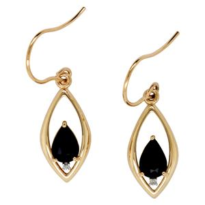 9ct Yellow Gold Sapphire & Diamond Drop Earrings on Shephers Hook