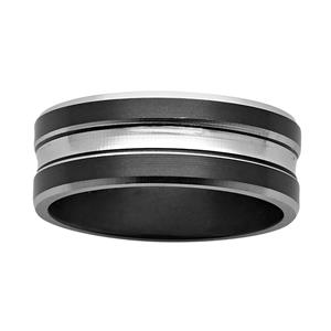 8mm black and white Zirconium ring