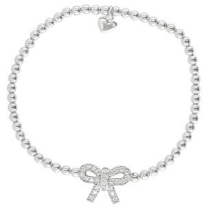 Sterling Silver Bow Ribbon Bracelet, 18cm