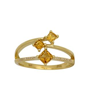 <p> 9 Carat Yellow Gold Ring with Citrine and Diamond</p>