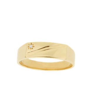 <p>Men's Dress ring with star set Diamond and engraved top&nbsp;</p>