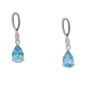 <p> 9 Carat White Gold Earrings with Blue Topaz and Diamond</p>
