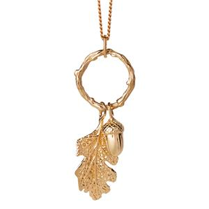 <p>Acorn and leaf loop necklace</p>