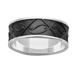 8mm Sterling Silver & Black Zirconium 'Koru' Ring