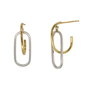 9ct Yellow and White Silver Bonded Earrings