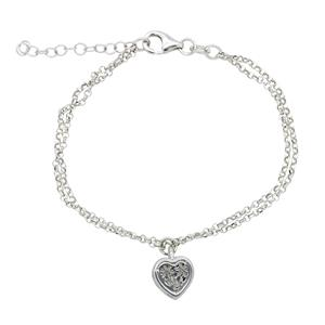 Sterling Silver Filigree Flower and Heart Cubic Zirconia Bracelet