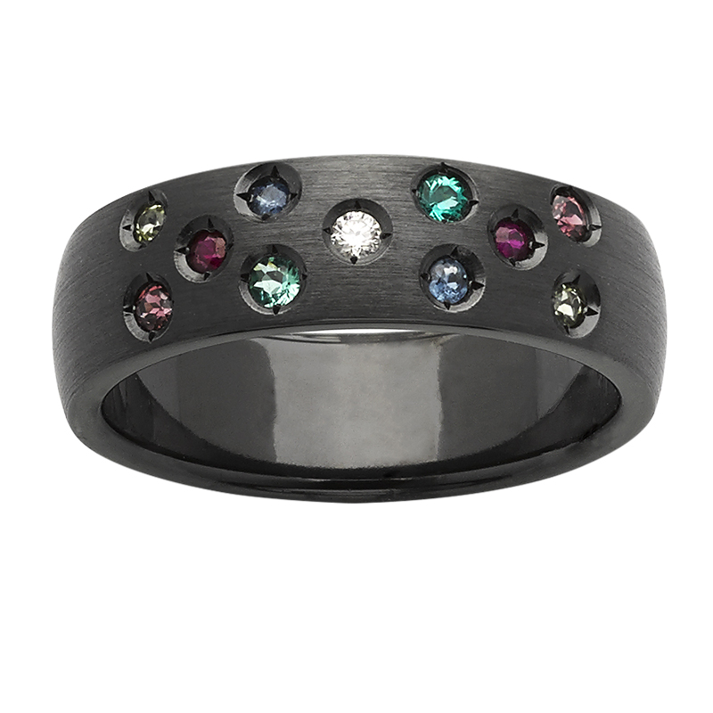 <p>6mm black zirconium ring with Diamond, Biron Emerald, Rhodolite Garnet, Peridot, Ruby,  Sapphire</p>