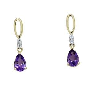 <p> 9 Carat Yellow Gold Earrings with Amethyst and Diamond</p>
