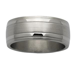 <p>Sanded and polished wide domed titanium ring</p>
