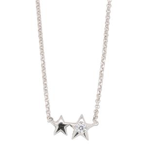 Bassano Italian Fashion - Sterling Siler, Rhodium Plated STAR Necklace