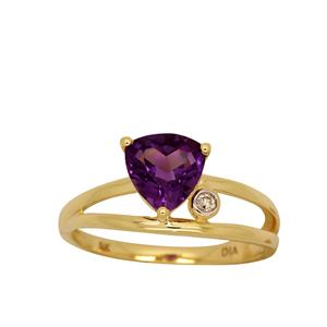 <p>9ct Yellow Gold Amethyst and Diamond Ring, Total Diamond Weight 0.02ct </p>