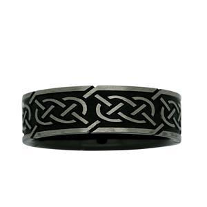 7mm Black & White ZiRO Celtic Ring