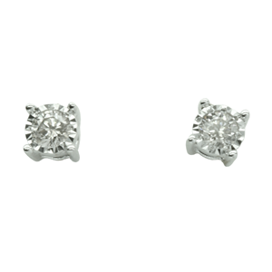<p>9 carat white gold earrings with diamonds</p>