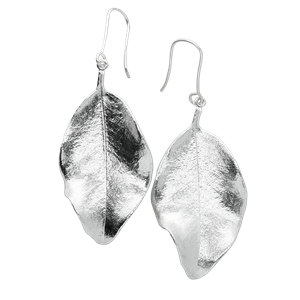 <p>Large springfire leaf earrings and box.</p>