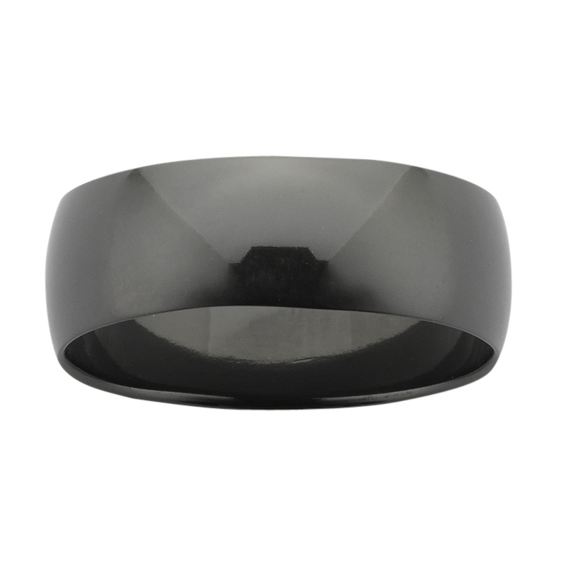 8mm wide half round Black Zirconium band with polished finish.