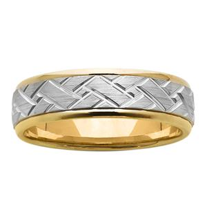 <p>6.5mm Patterned Yellow and White Gold Ring</p>