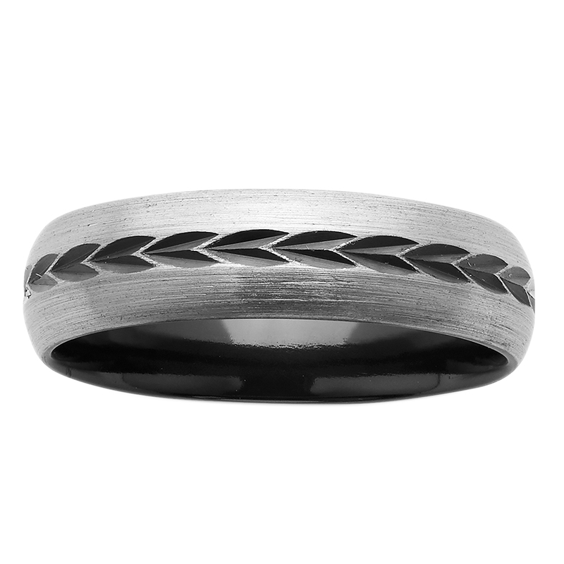 6mm Black and White Patterned ZiRO Ring