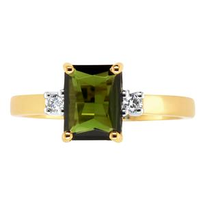 <p>Emerald Cut Green Tourmaline Ring with Diamonds.</p>