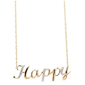 <p>9ct Yellow Gold Diamond 'Happy' Necklace </p>