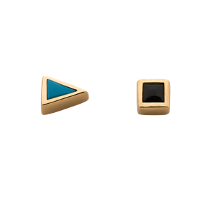 <p>Start/Stop studs with turquoise and onyx.</p>