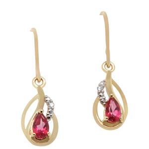 Diamond and Pink Topaz Earrings in 9ct Yellow Gold