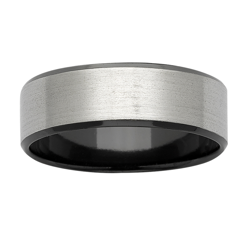 Black & Natural Coloured Zirconium Ring with sanded top