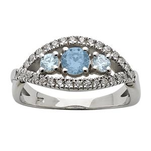 <p>Aquamarine and Diamond Ring. Total Diamond Weight 0.30ct</p>