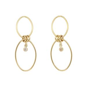 <p>9ct Yellow and Silver Bonded Cubic Zirconia Earrings</p>