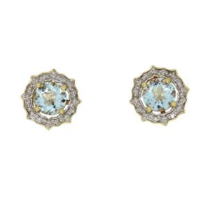 <p>9ct Yellow Gold Aquamarine & Diamond Earrings. Total Diamond Weight 0.062ct</p>