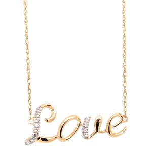 <p>9 Carat Yellow Gold LOVE Necklace with Diamonds.</p>