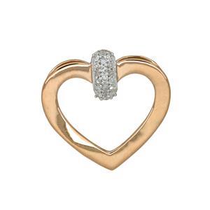 9ct Rose & White Gold Diamond Heart Pendant