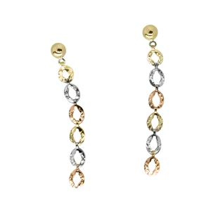 9 Carat Tri-Gold Earrings