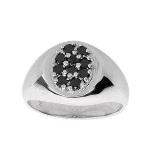 <p>Gents ring wtih black diamonds. Available in 18 carat white gold, 18 carat yellow and white gold, 9 carat white gold, 9 carat yellow and white gold or sterling silver</p>