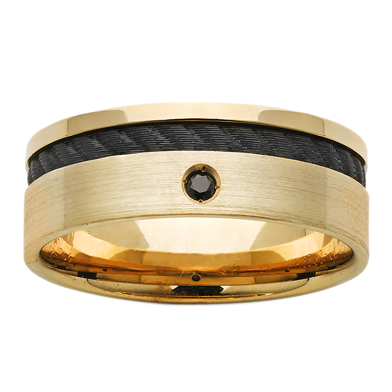 7mm 9ct Yellow Gold And Black Rope Zirconium ZiRO ring with Black Diamond