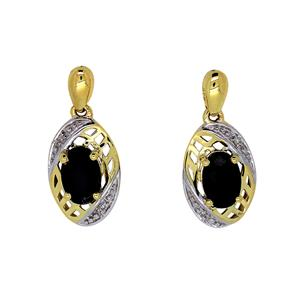 <p>9ct Yellow Gold Sapphire & Diamond Earrings. Total Diamond Weight 0.01ct</p>