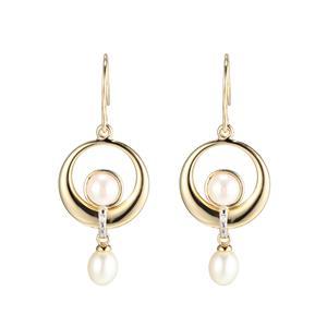 Fresh Water Pearl and Diamond Earrings on Shepher Hooks