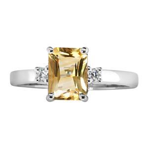 <p>Emerald Cut Citrine Ring with Diamonds.</p>