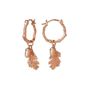 <p>Acorn and leaf mini hoop earrings.</p>