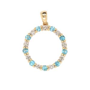 Blue Topaz and Diamond Pendant, Total Diamond Weight 0.04ct