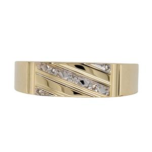 6mm Yellow Gold Diamond Signet Ring