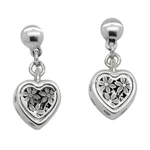 Sterling Silver Filigree Flower and Heart Cubic Zirconia Earrings