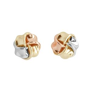 <p> 9 carat tri gold knot earrings</p>